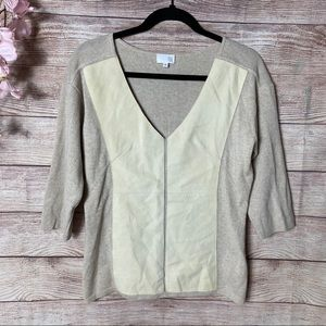 TSE Cream Cashmere and Suede Panel Luxe Sweater